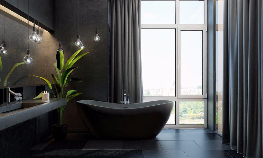 浴室黑色浴缸现代简约风格装修效果图