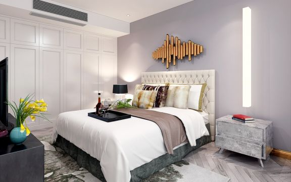 卧室米色床简约风格效果图