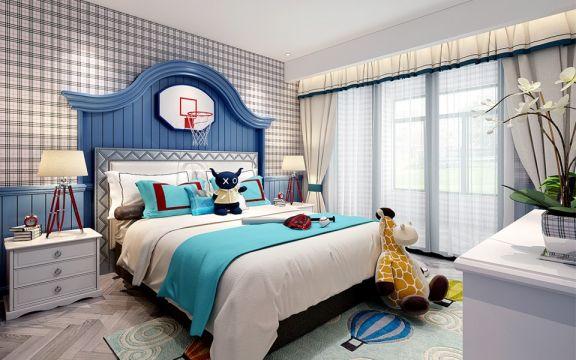 儿童房白色床头柜简约风格装饰效果图