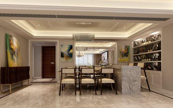 餐厅白色吊顶简约风格装潢效果图