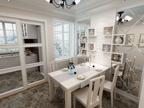餐厅白色餐桌简欧风格装潢设计图片