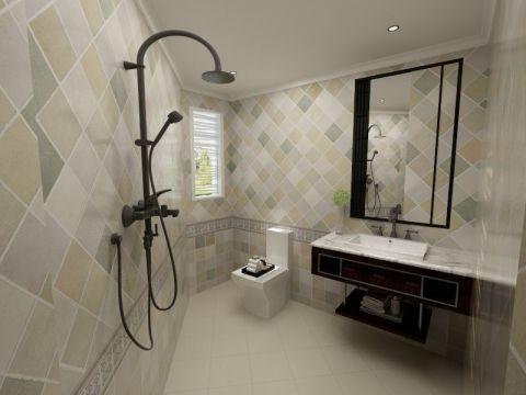 卫生间黑色洗漱台简欧风格装潢效果图