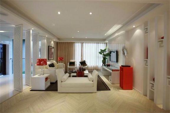 客厅白色沙发简中风格装潢效果图