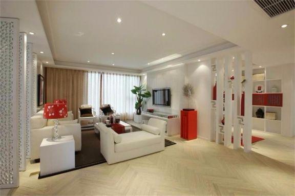 客厅白色吊顶简中风格装潢图片