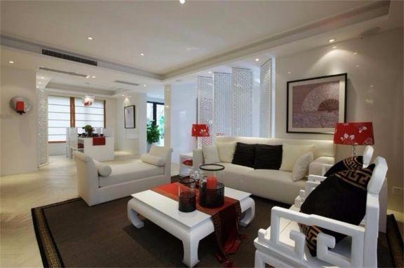 客厅白色茶几简中风格装修设计图片