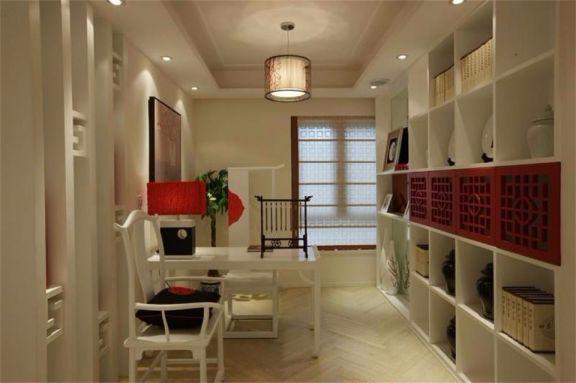 书房白色书架简中风格装潢设计图片