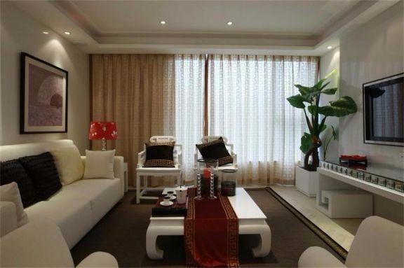 客厅黄色窗帘简中风格效果图
