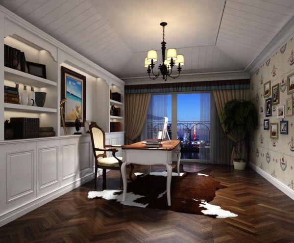 书房白色书桌美式风格装饰设计图片