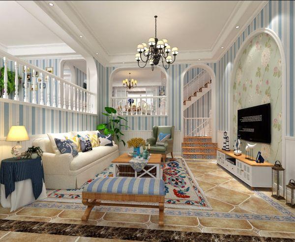 客厅白色电视柜美式风格装潢设计图片