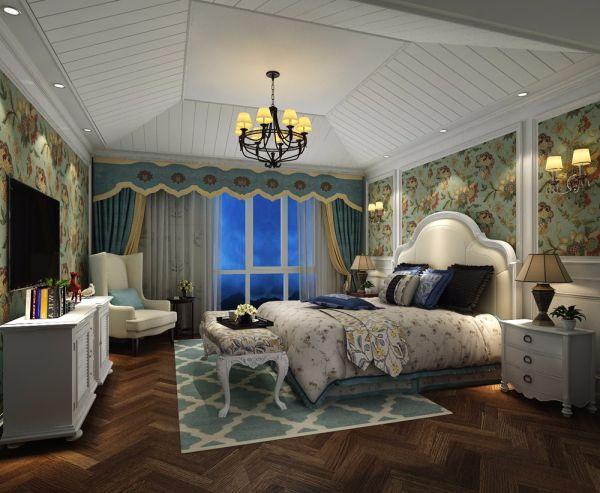 卧室白色床头柜美式风格效果图