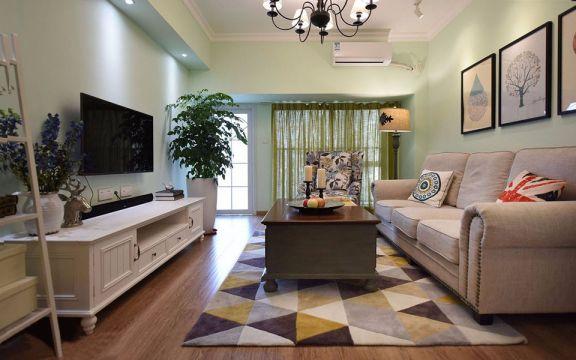 美式风格95平米两室两厅新房装修效果图