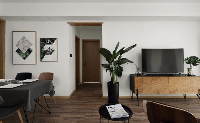 客厅咖啡色电视柜北欧风格装饰图片