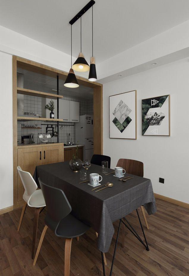 餐厅咖啡色地板砖北欧风格装饰设计图片