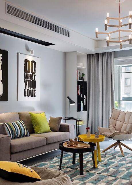客厅咖啡色沙发北欧风格装修设计图片