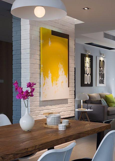 餐厅咖啡色餐桌北欧风格装饰设计图片