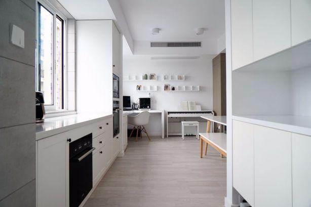 厨房白色橱柜北欧风格装饰设计图片