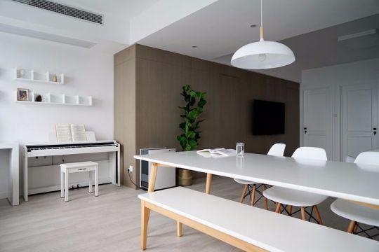 餐厅白色餐桌北欧风格装修设计图片