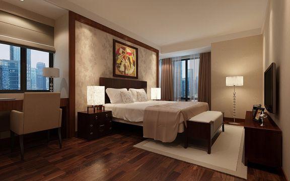 卧室红色床头柜现代简约风格装潢设计图片