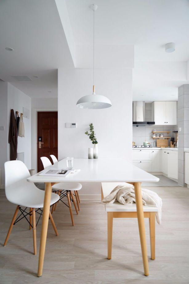 餐厅白色餐桌北欧风格装饰效果图