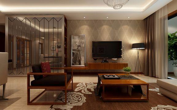客厅咖啡色茶几室内装饰