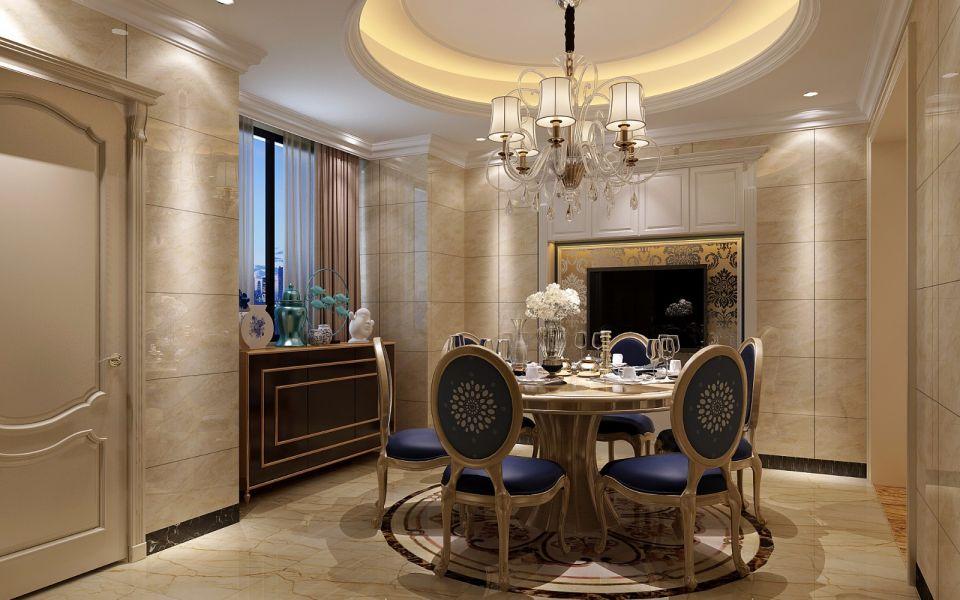 餐厅黄色餐桌简欧风格装潢效果图