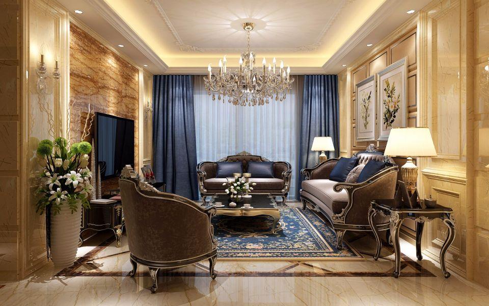 客厅蓝色窗帘简欧风格装饰图片