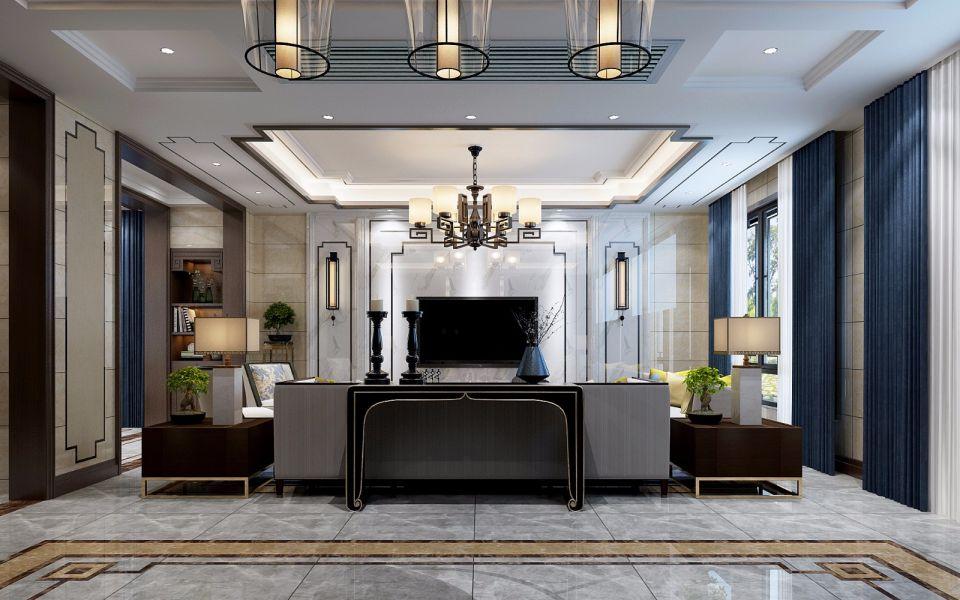 客厅白色吊顶新中式风格装潢效果图
