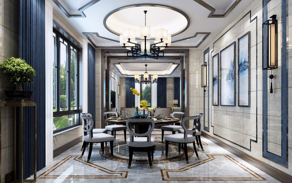 餐厅蓝色窗帘新中式风格装修图片
