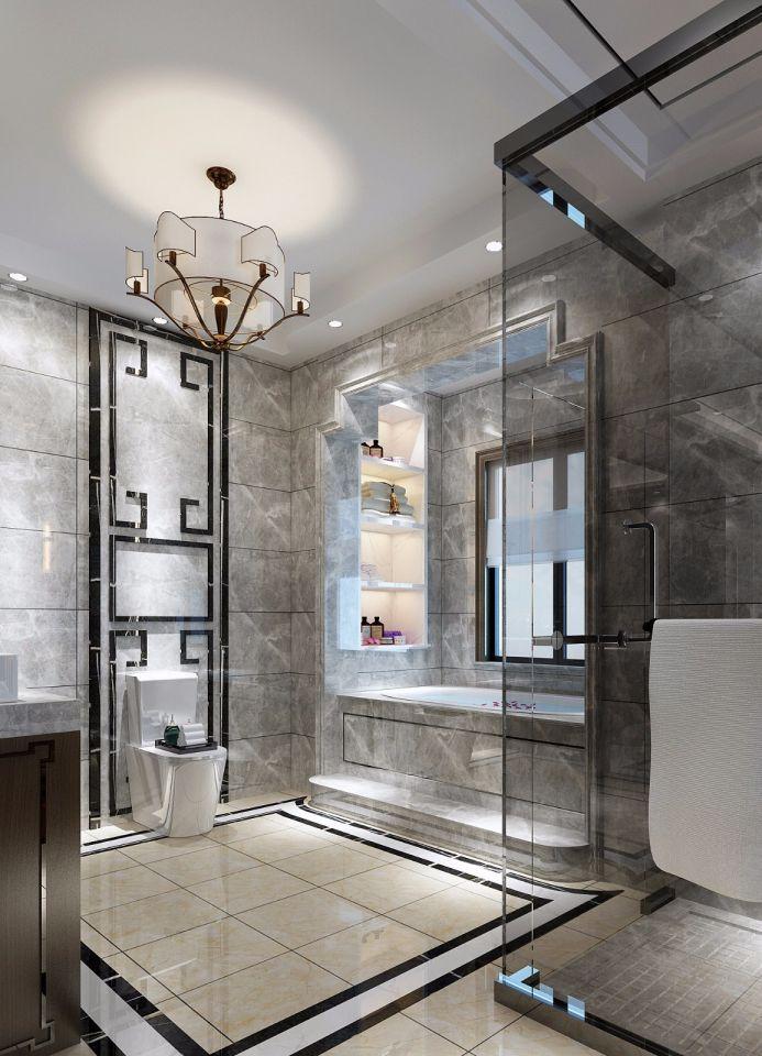 卫生间黄色地砖新中式风格装潢图片