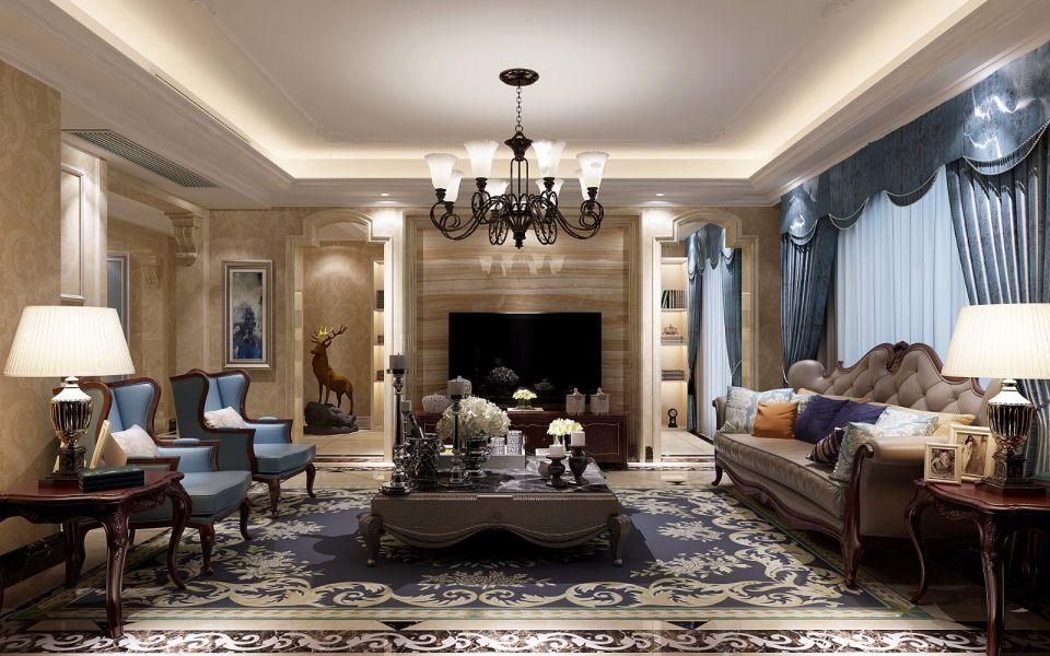 纯净蓝色客厅装修实景图片
