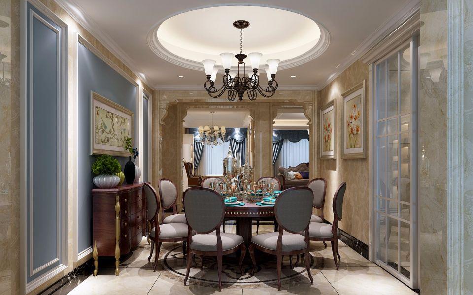 餐厅咖啡色餐桌美式风格装饰设计图片