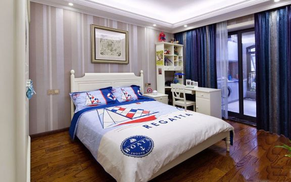 卧室蓝色窗帘欧式风格装修设计图片