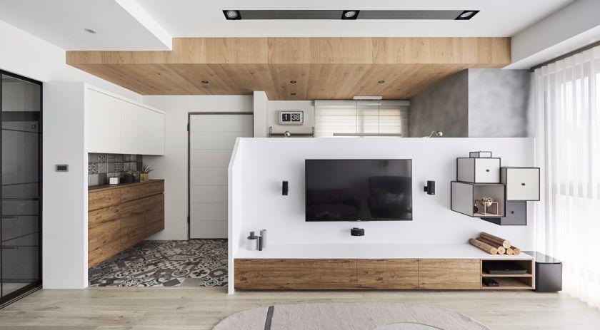 客厅咖啡色电视柜北欧风格装修图片