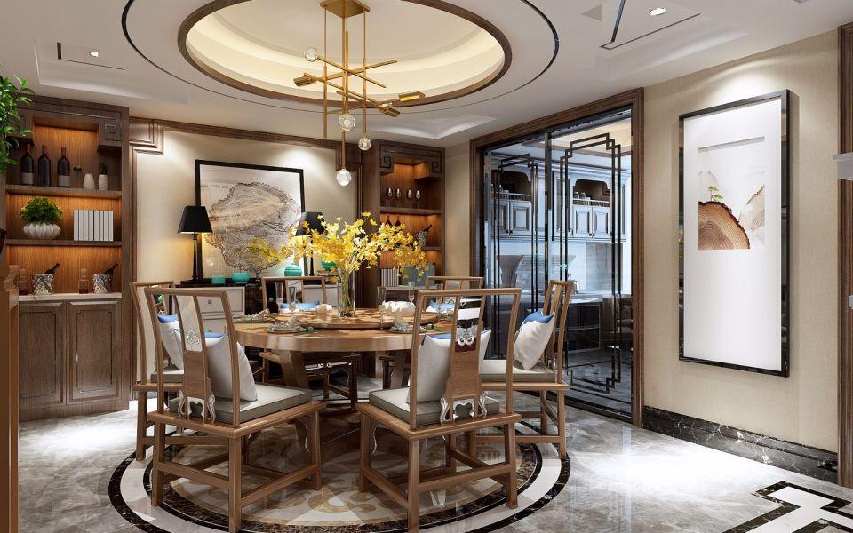 餐厅咖啡色餐桌新中式风格装饰效果图