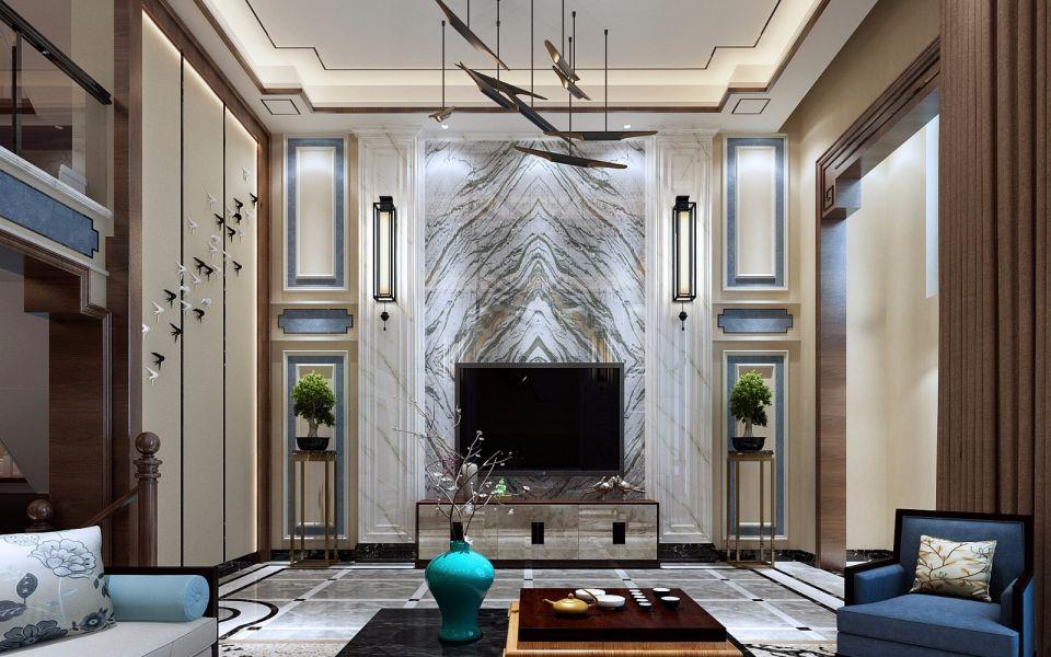 新中式客厅茶几室内装修图片
