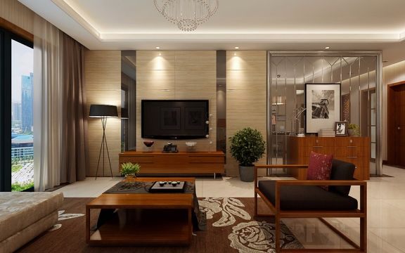 客厅咖啡色电视柜现代简约风格装潢设计图片