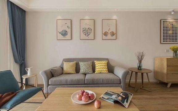 客厅蓝色窗帘日式风格装潢图片