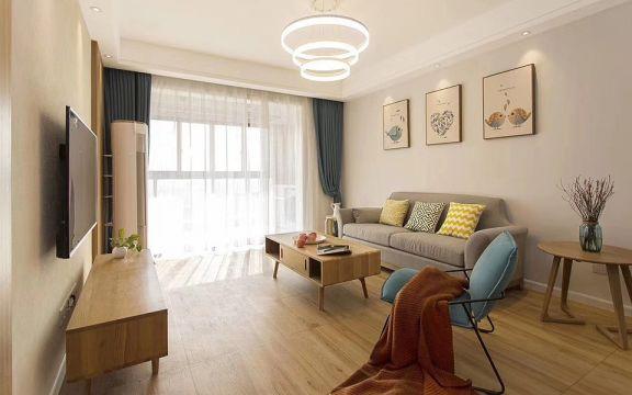 客厅黄色茶几日式风格装饰图片