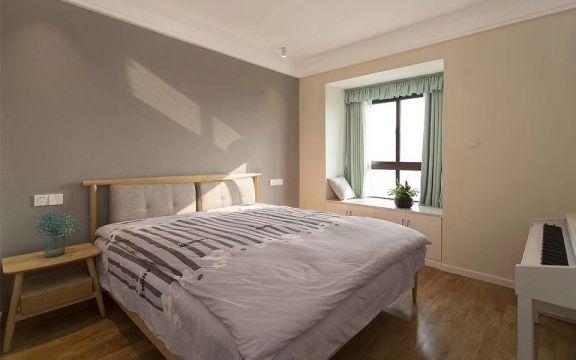 卧室白色飘窗日式风格装修设计图片