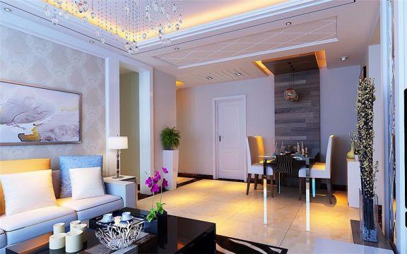 餐厅白色吊顶现代简约风格装潢效果图