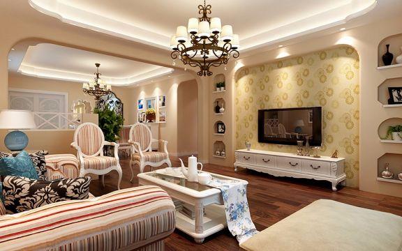 现代欧式风格110平米三室两厅新房装修效果图