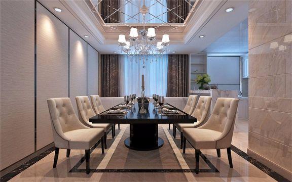 餐厅黑色餐桌简欧风格装潢设计图片
