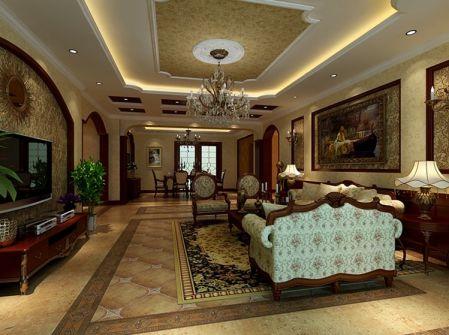 美式风格240平米大户型室内装修效果图