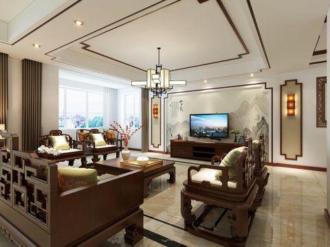 新中式风格200平米三室两厅新房装修效果图