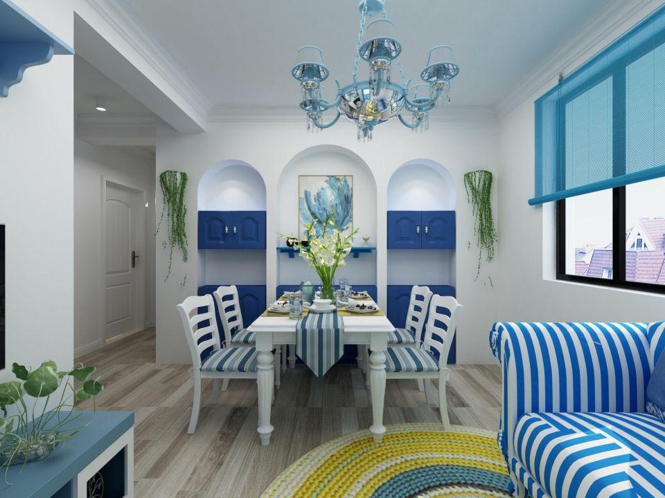 地中海风格58平米一居室新房装修效果图