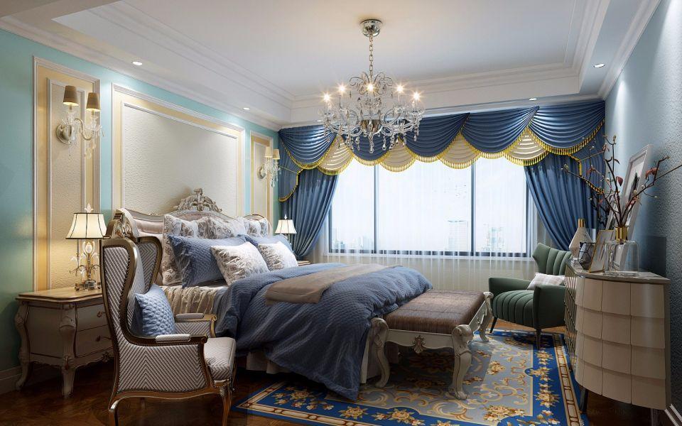 卧室窗帘法式装饰实景图