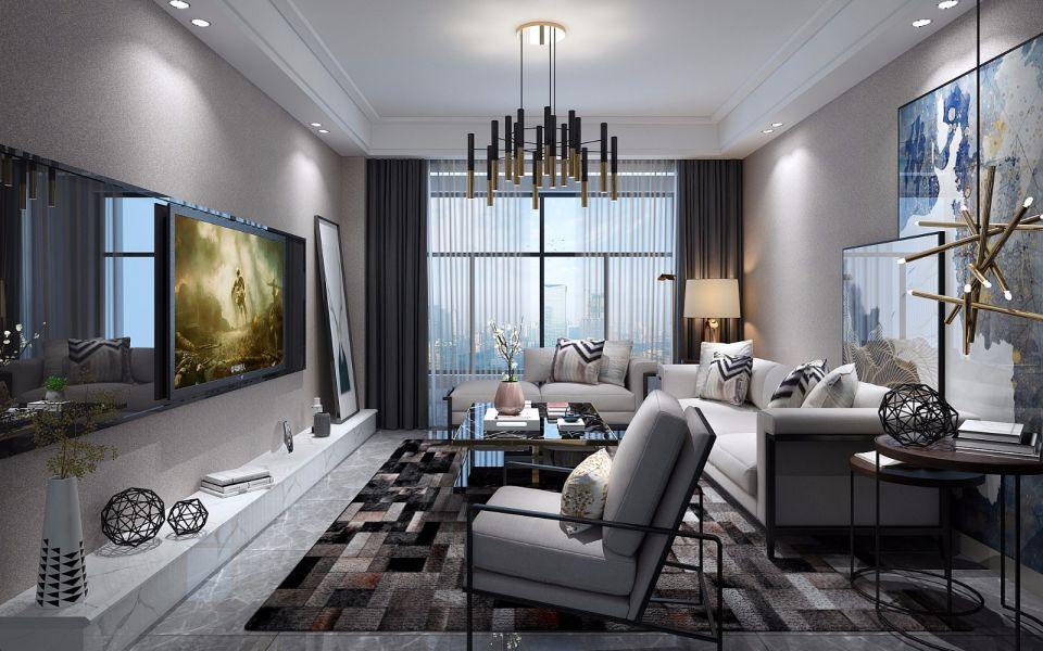 现代简约风格127平米套房室内装修效果图