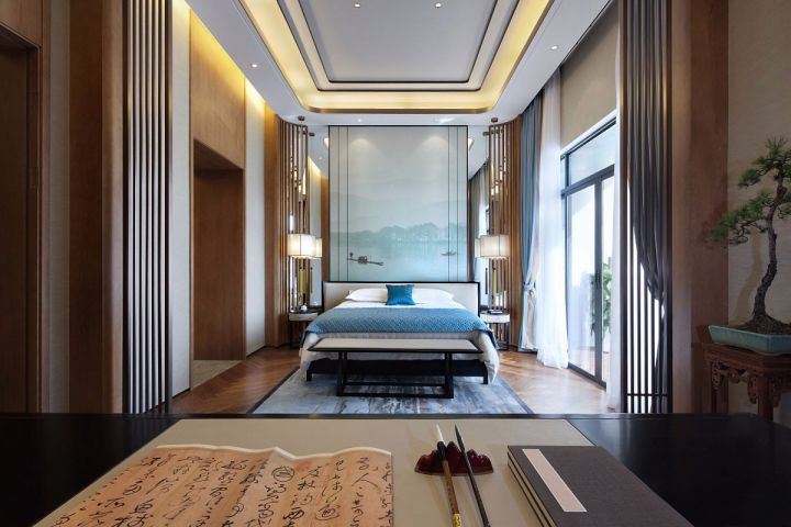 禹洲·澜山墅200平现代中式别墅装修效果图案例