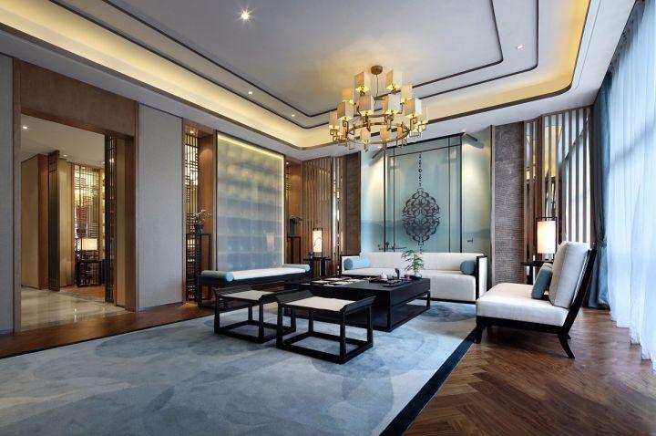 现代中式风格200平米别墅室内装修效果图