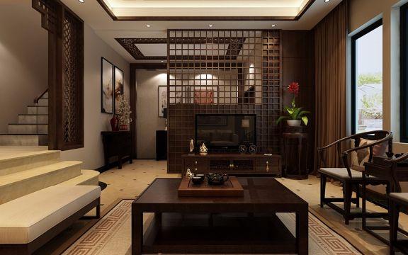 96平米中式风格复式三居室装修效果图